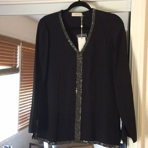 Tory Burch black sequins top size 0